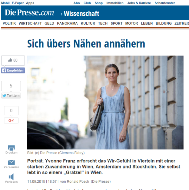 Die Presse article about Yvonne Franz